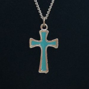 Turquoise Religious Cross Chain Necklace